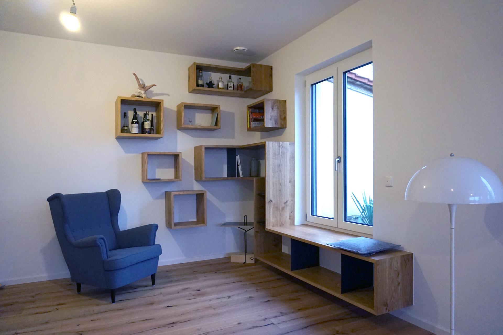sitzbank regal schreinerei andreas st hle. Black Bedroom Furniture Sets. Home Design Ideas